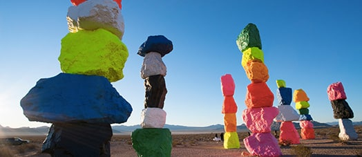 Painted rocks at Seven Magic Mountains