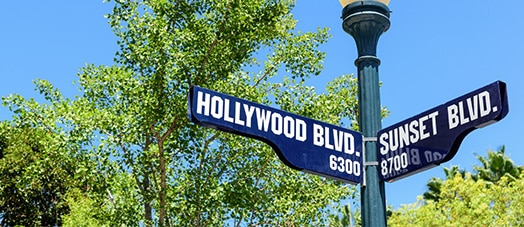 Hollywood Blvd and Sunset Blvd corner sign