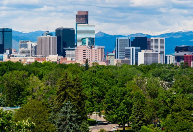 Downtown Denver Colorado and the Rocky Mountains