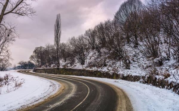 slippery winter road