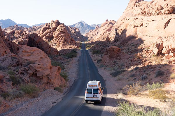 Campervan driving through Valley of Fire State Park