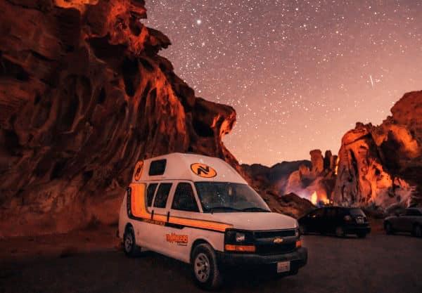Campervan parked in the desert