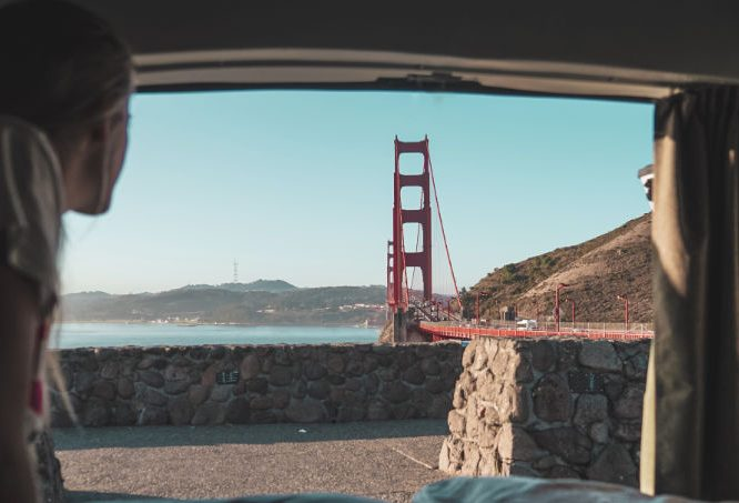 Campervan rental parked camping near Golden Gate Bridge