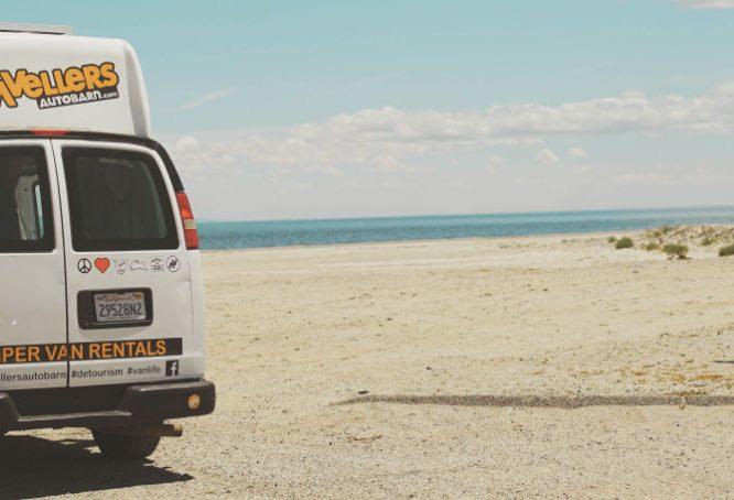 Travellers Autobarn campervan rental at the beach