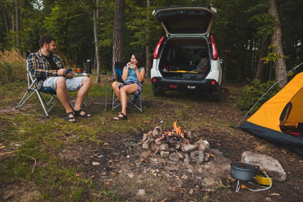 minivan and tent camping