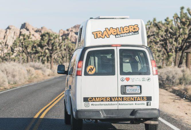 Campervan driving in Joshua Tree National Park