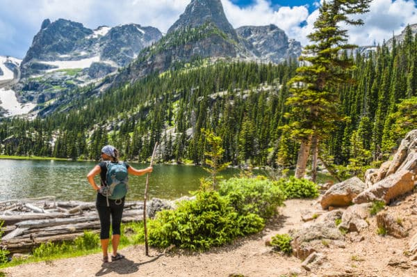 female hiker in Rocky Mountain National Park