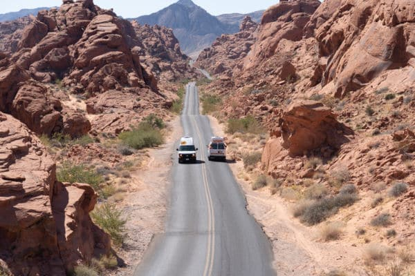 Two campervans passing Valley of Fire