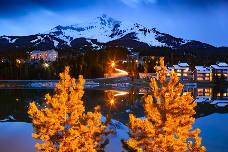 Snowy mountains in the evening at Snow Basin, Utah