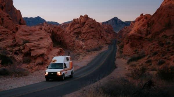 campervan rental on the highway