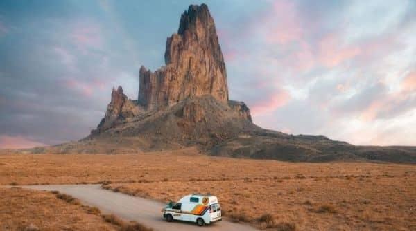 campervan on desert road