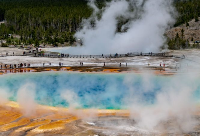 View of Grand Prismatic from Fair Falls Trail