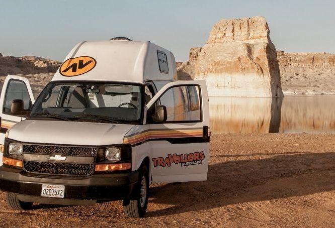 camper van with open doors