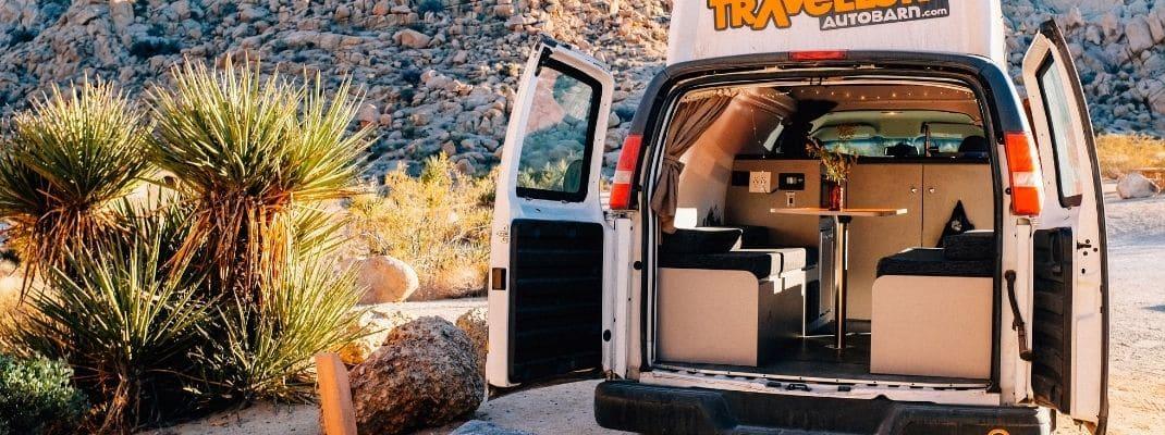 campervan with rear doors open
